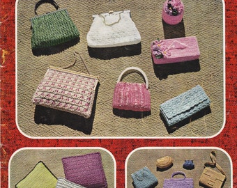 Myart Book 8 Straw Handbags Purses Accessories Patterns 60s Vintage Knitting Crochet Paper patterns ORIGINALS NOT PDF