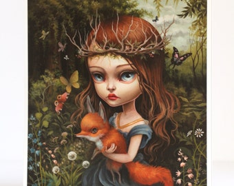 The Entomologists Daughter -Signed 11x14 pop surrealism Fine Art Print by Mab Graves -unframed