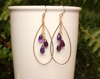 Amethyst Hoop Earrings, You Choose Size, Gold or Silver, Teardrop Hoops, Lightweight, Amethyst Hoop Earrings, Free Shipping
