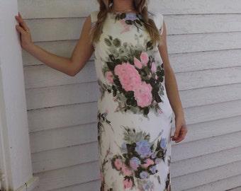 Sleeveless Floral Dress 60s Vintage Print Shift XL 41 Bust 40 Waist