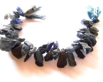 Gemstone Bead, Iolite, Hammered, Shard Beads, Top Drilled , Raw  Beads,12-19mmx9-11mm  4 or 8 inch