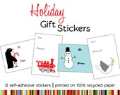 SALE - 12 Modern Holiday Gift Stickers on 100% Recycled Paper