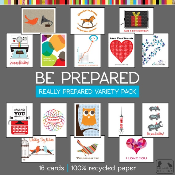 Be Really Prepared - 16 Greeting Card Variety Pack - 100% Recycled Paper