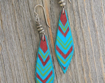 SALE-CHEVRON FEATHERED. Hand painted birch wood and vintage metal earrings. 147