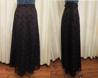 Vintage Formal Red and Black Lace Long High Waisted Maxi Skirt