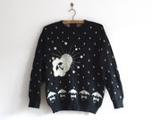 Silver Linings Vintage Sweater - Knit Top - Raindrops and Umbrellas - Kooky Sweater with Pompoms