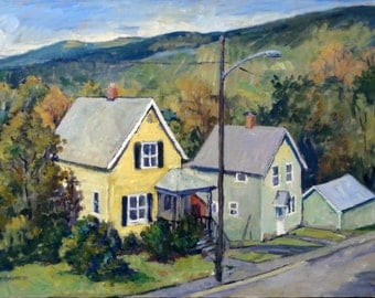 Downhill, September Houses. Oil on Canvas, 14x20 American Realist Landscape, Plein Air Impressionist Oil Painting, Signed Original Fine Art
