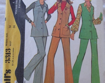 vintage McCALLS 3313 (1972)-- Misses' vest and pants - recommended for knits- (size 14)
