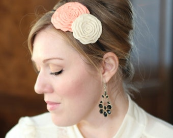 Peaches and Cream Double Folded Flower Headband for Women