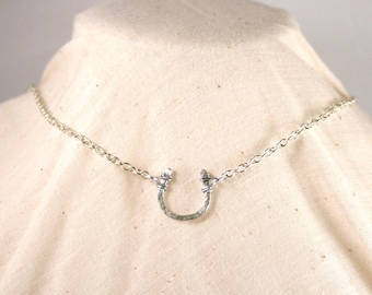 Textured Lucky Horseshoe Necklace Wire Wrapped Silver Aluminum and Chain Made to Order