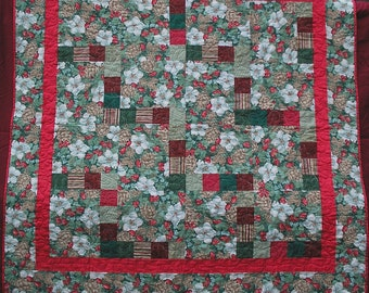 """Christmas Patchwork Quilt - Red and Green 62"""" Square Lap Size Quiltsy Handmade"""