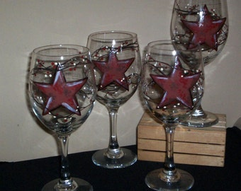 Pair of Painted Glass Wineglasses Barn Star Hand Painted Wine Glasses Set of 2 With Vines & Berries by Lisa Hayward