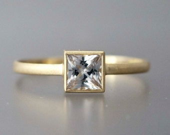 4.5mm Square White Sapphire Engagement Ring in solid 14k yellow or white gold - Princess Cut Diamond alternative