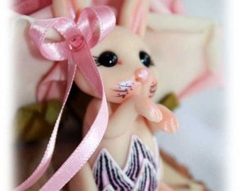 SALE!! OOAK art doll Easter bunny rabbit fairy fae faerie troll miniature table decoration
