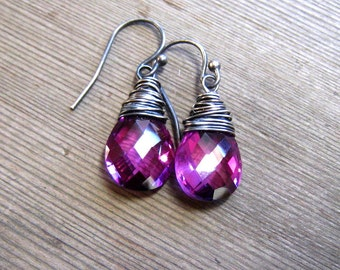 Kunzite Quartz Earrings,  Purple Stone Dangle Earrings,  Sterling Silver,  Color Change Stone