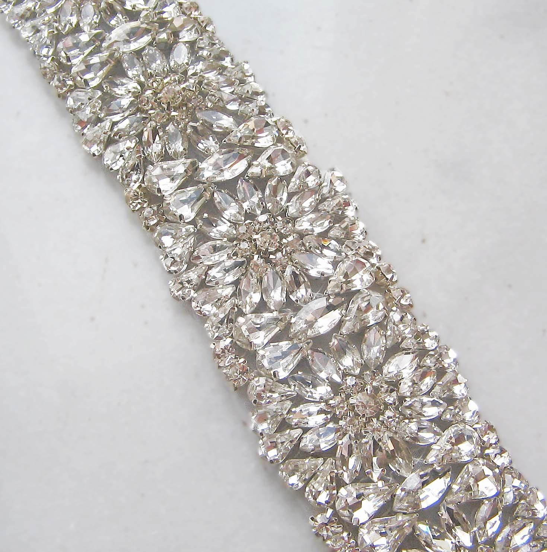 Crystal rhinestone trim beaded rhinestone bridal applique for for Wedding dress trim beading