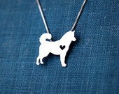 Husky necklace, sterling silver hand cut pendant, with heart, tiny dog breed jewelry