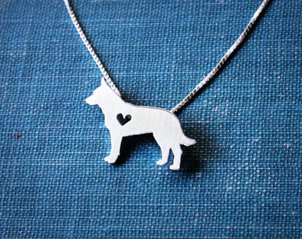 Cattle Dog/Blue Heeler necklace, sterling silver hand cut pendant, with heart, tiny dog breed jewelry