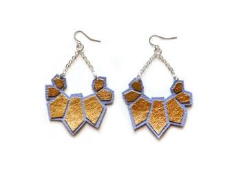 Gold Dangle Earrings, Purple Earrings, Modern Leather Earrings, Hexagon Geometric Earrings, Big Statement Earrings, Metallic Jewelry