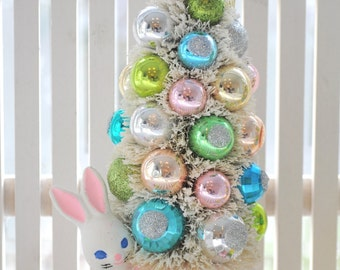 Pink Easter Bunny Bottle Brush Tree pink & blue chic vintage Christmas glass garland ornaments Easter Day Parade Shabby trees bottlebrush