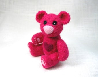 Little Bear Pink, Jointed Teddy Bear Figure, Valentine Heart Bear, Needle Felted Hot Pink Wool, Felted Art for Charity