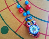 Vintage Tin Toy Clicker - Upcycled Party Favor Necklace - Red Owl with Clock