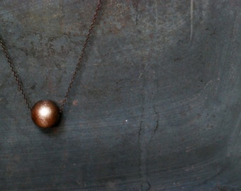 Disco  -  Wood Bead Necklace - Copper  Wood Necklace - Boho Necklace - Single Sphere
