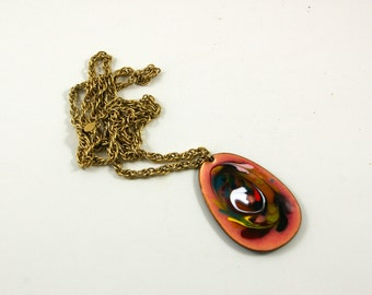 Modernist Two-Sided Enamel Pendant and Gold Tone Chain