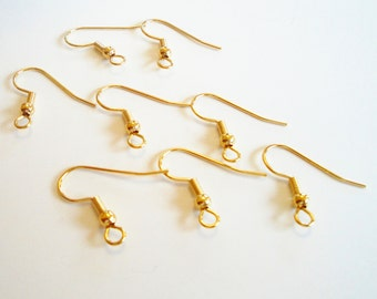 Gold Fishhook Earwires - Open Loop Ear Wires - Ball and Coil Fishhook - 20mm - 50 Pairs - Earrings Components - DIY Jewelry Findings