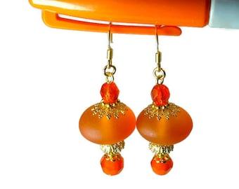 Tangerine Orange Dangle Earrings, Orange Earrings, Clearance SALE