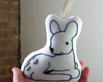 Baby Deer Christmas Ornament - Baby's First Christmas - Blue - Silver - Hand-Embroidered - Woodland - Personalized - Made to Order