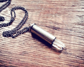 Silver Multi Crystal Bullet Necklace