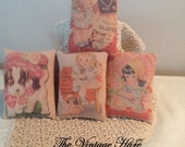Primitive Vintage Valentine Art Cards Set of 4 HaFair, OFG, DUB Bowl Filler, Ornie, Pillow Tucks