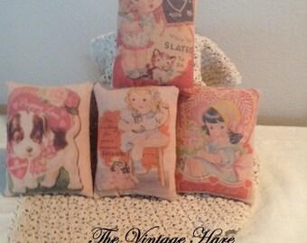Primitive Vintage Valentine Art Cards Set of 4 HaFair, OFG, DUB Bowl Filler, Ornie, Pillow Tucks