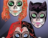 Gotham Lady Rogues: Catwoman, Poison Ivy & Harley Quinn Sugar Skull Print 11x14 print