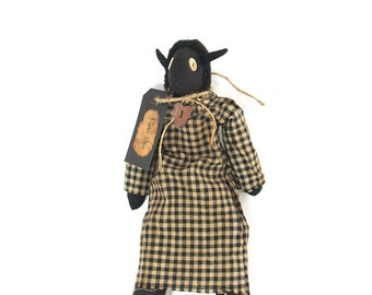 Black Lamb, Black Sheep, Primitive Doll, Black, Folk Art, Gothic, Goth, Rusted Heart, Wooden Buttons, Black White Check, Black and White