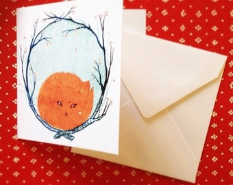 little fox christmas card / pack of 5 with envelopes
