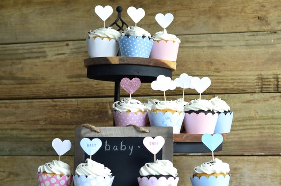 Baby Shower Cupcake Wrappers, choose your color!