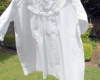 Antique Baby Nightgown Christening Dress Cotton Eyelet