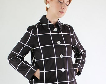 SALE - Vintage 90s does 60s Chocolate Brown Windowpane Jacket