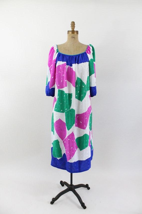80s dress -  kaftan dress - color block - Bob Mackie
