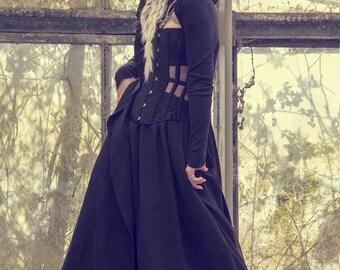 Coven Black jacket cloak oversized hooded long sleeved jersey maxi cardigan
