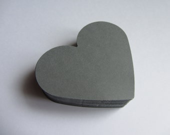 Wedding grey Hearts 50 Large Paper Hearts Wedding decorations Valentines day Scrapbooking Wish Tag Wedding Tag Paper Die Cut gray