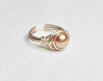 Rose Gold Swarovski Pearl Rose Gold Handmade Wire Wrapped Ring Sizes 1-14