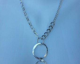 Chain Necklace - mixed Chains in Silver  w Different size Links w Ring Loop Pendants