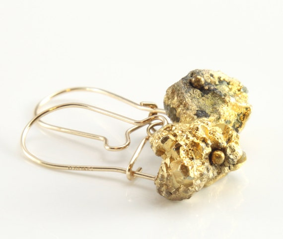 pyrite nugget earrings yellow gold jewelry fool s gold