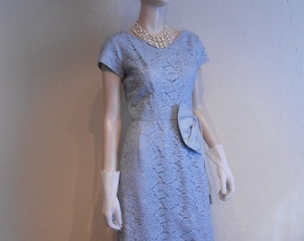 Light Blue Dreams - Vintage 1950s Lavender Blue Ice Blue Lace Wiggle Dress - 4