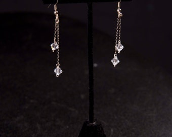 Earrings - Swarovski crystal dangles on silver chain bridal glam