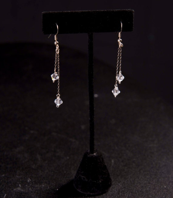Earrings - Swarovski crystal dangles on silver chain bridal glam