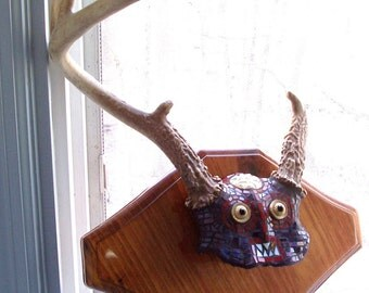 OOAK MONSTER Mosaic Brusco the Chupacabra Mythical Creature Stained Glass MOSAIC Vintage Deer Antlers Mixed Media Mosaic Wall Hanging